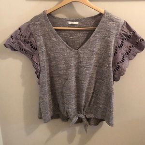 Maurices Heather Gray Front Tie Top